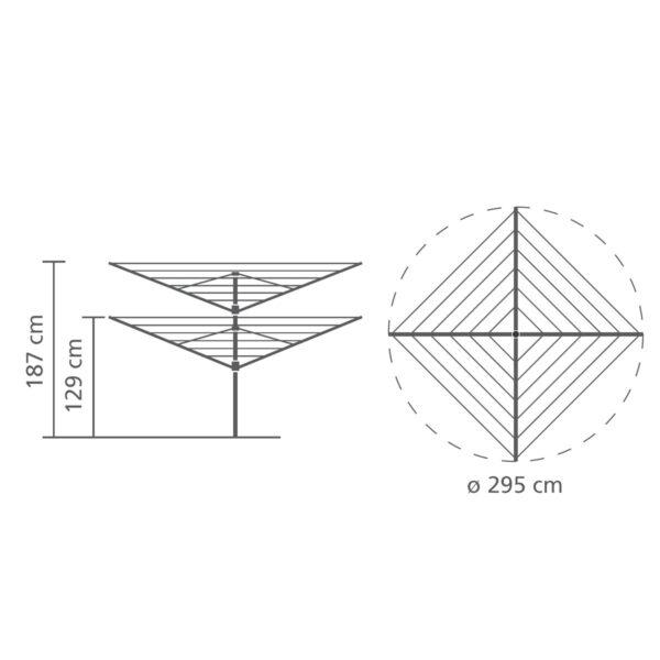 מתלה כביסה לגינה קרוסלה 60 מטר Lift-O-Matic ברבנטיה - מידות