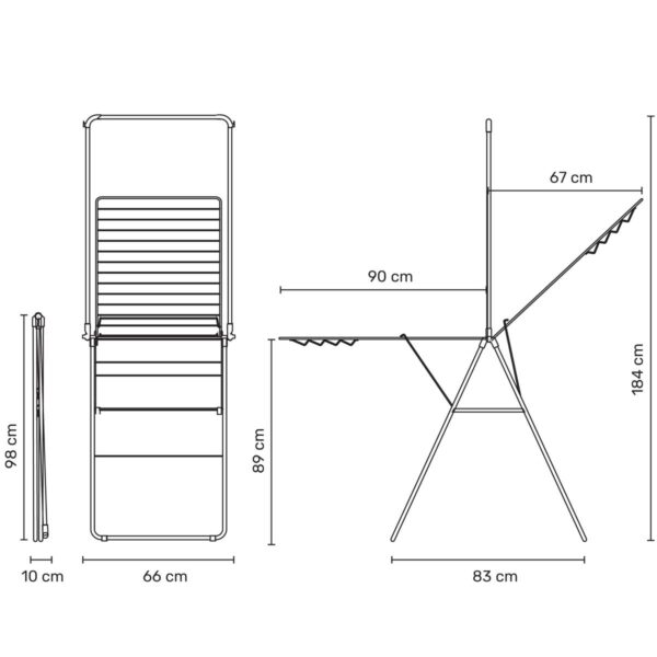 מתלה כביסה מתקפל 25 מטר + מוט תלייה, HangOn ברבנטיה